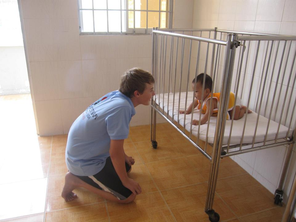 Hank visiting an orphanage