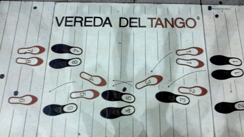Outside of all the tango house of Buenos Aires is this diagram for the tango dance steps