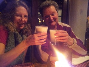 Staying warm on my 50th with a green scarf and a pisco sour