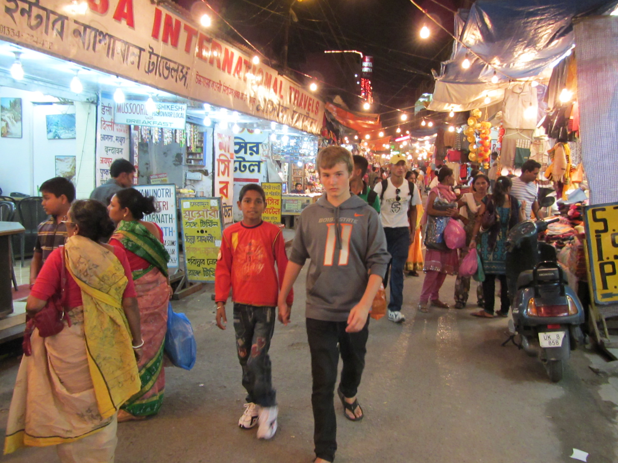 Shopping at the Diwali market in Haridwar, India