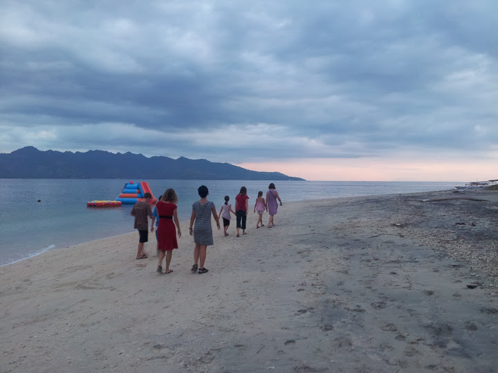 walking along the beach on Gili Air