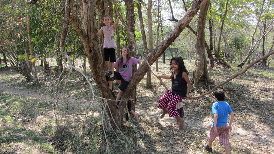 Cat and Leontine climbing trees in Cambodia