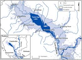 Map of Tonle Sap showing dry season and monsoon season boundries