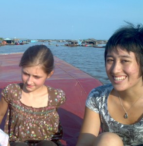 Miriam and Ming floating on Tonle Sap