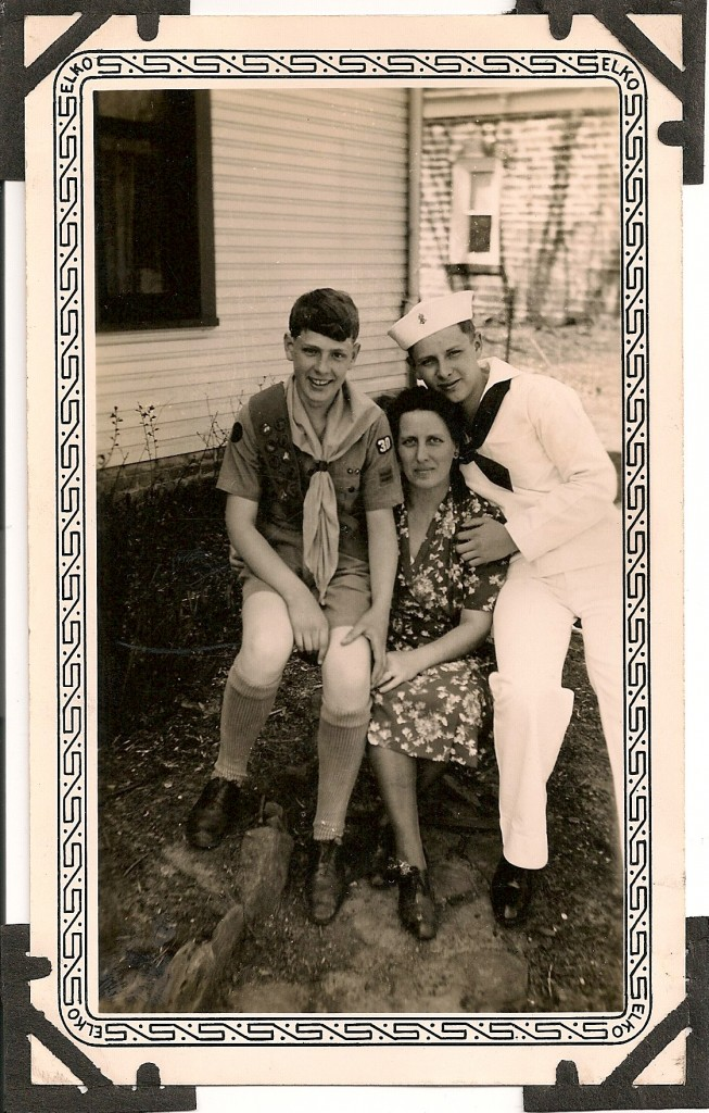 Dad as a sea scout with his brother and mother