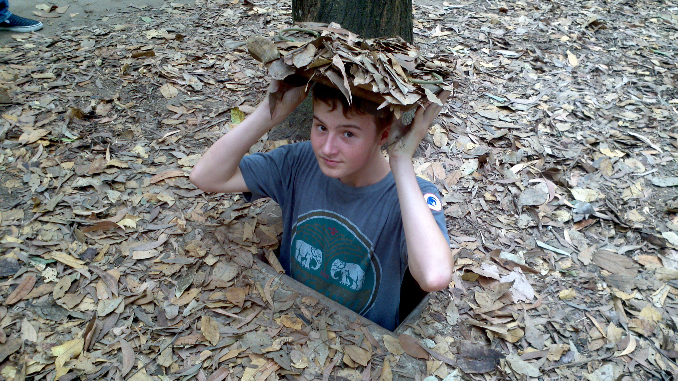 Crawling out of the Chu Chi Tunnels, Vietnam