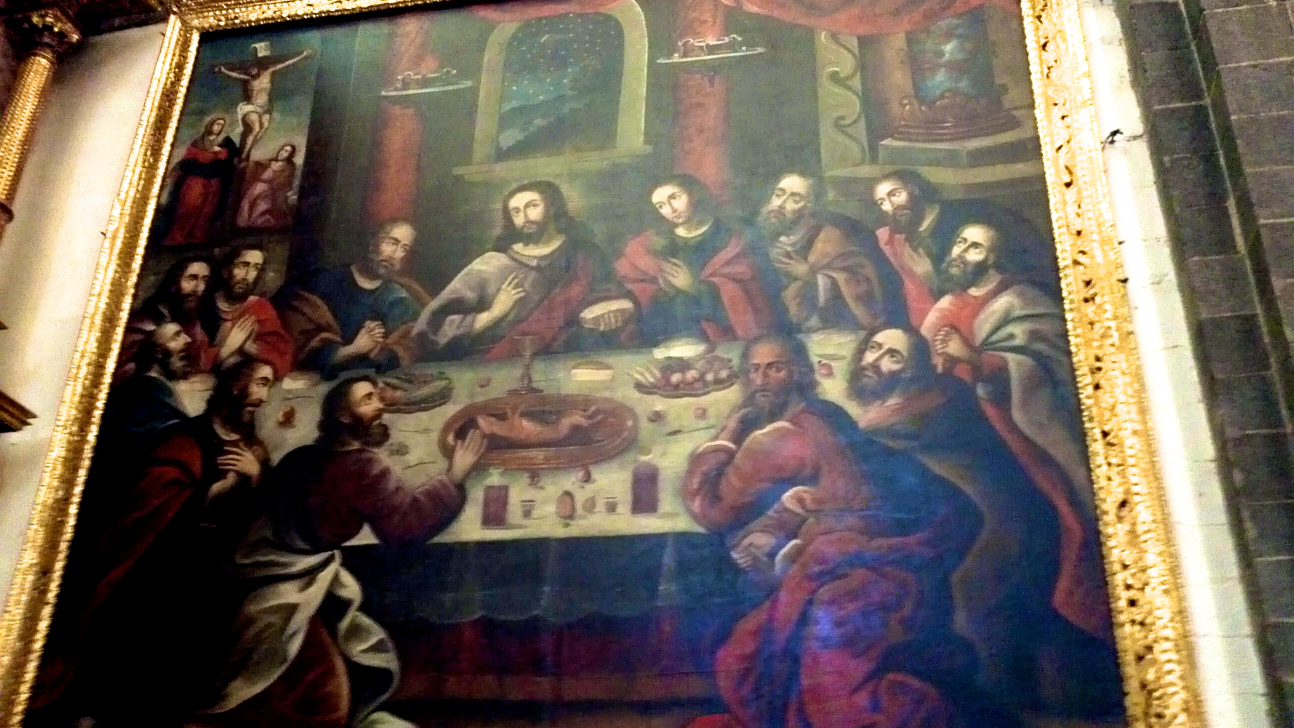 Jesus eating cuy at his last supper in Cusco