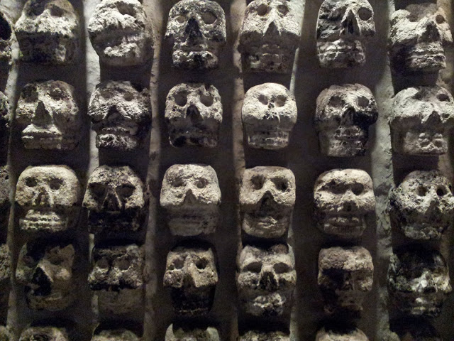Skulls found in the temple in Mexico City